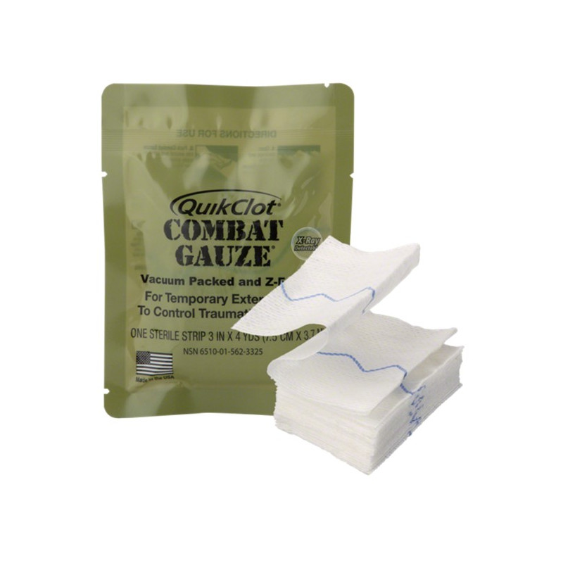 Pansement Hémostatique QUICKCLOT Combat GAUZE-Z-Folded