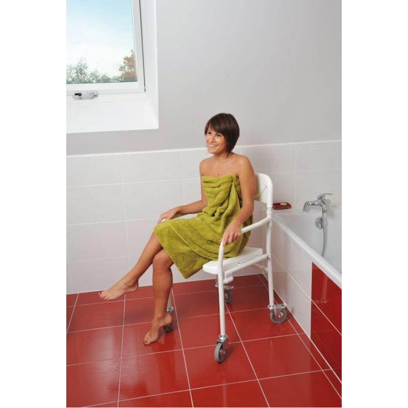 Chaise de douche Tobago à roulettes