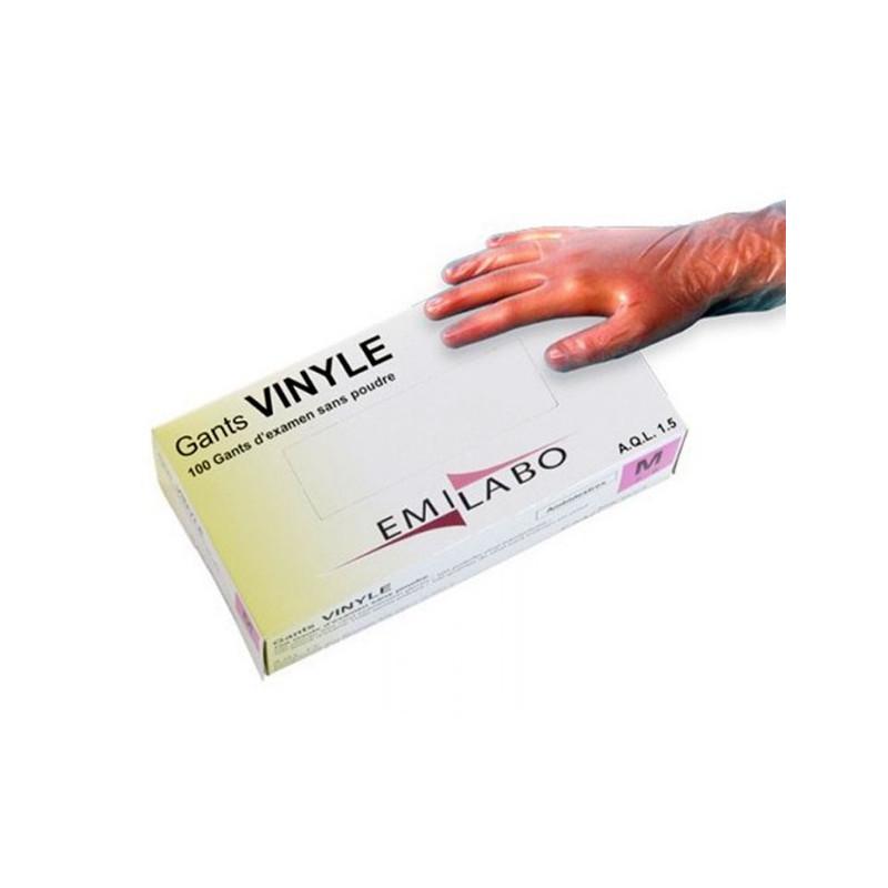 Gants vinyle Emilabo sans poudre - La boite de 100